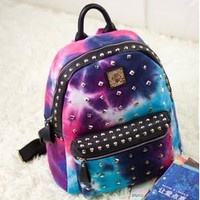 Fashion Rivet Starry Sky Color Backpack