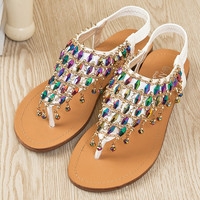 Unique Color Rhinestone  Flat Sandals
