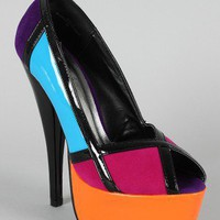Aden-10 Colorblock Peep Toe Platform Pump