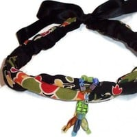 Black Boho Choker Necklace Colorful Ribbon Tie-on | kathisewnsew - Jewelry on ArtFire