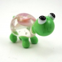 Little Pink Floral Turtle Lampworked Glass Figurine Bead | MercurysGlass - Dolls & Miniatures on ArtFire