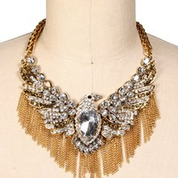 Gold Rhinestone Eagle Statement Necklace