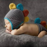 Baby Costume Cute Brown Dinosaur Newborn Baby Knitted Crochet Hat &Shorts Photography Props:Amazon:Home Improvement