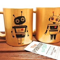 Love Gold Robot SET 2- Ceramic Coffee mug- a cute robot mug design- anniversary gift for a special someone love