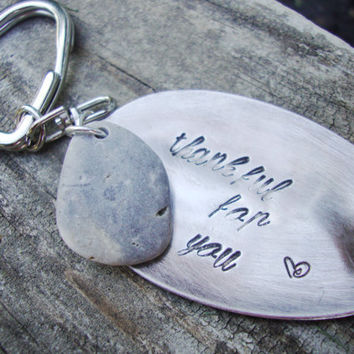 Thankful for you upcycled silver plated teaspoon keychain with smooth beach stone