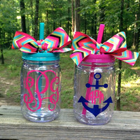 Large Monogrammed Mason Jar Tumbler with Handle