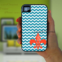 CiJ Sale Chevron Monogram iPhone 4/5 tough case, 2 piece rubber lining case, iPhone 4 iPhone 5 cover, fleur de lis