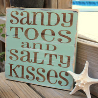 Beach Sign Sandy Toes Salty Kisses Coastal Beach by justbeachyshop