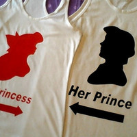 Free Shipping in US Ariel & Eric The Little Mermaid Prince and Princess Tank Tops