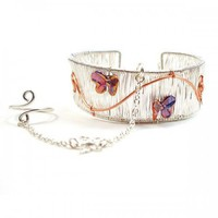 Handmade Butterfly Slave Bracelet Silver Wire Cuff with Ring Attached | BrainofJen - Jewelry on ArtFire