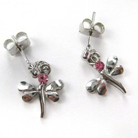 ONE DOLLAR SALE - Dragonfly Studs in Silver