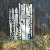 Tri-fold art garden gate, hand painted | rayscustomwoodwork - Furnishings on ArtFire