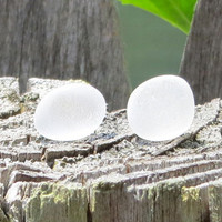 White Sea Glass Stud Earrings by Wave of Life