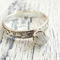 Customized Uncut Rough Diamond Ring Rustic Sterling Silver Band