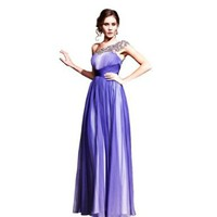 Teenloveme Ombre Blue Ball Dresses For Party One Shoulder Bead A-line Dress , Blue, XS:Amazon:Clothing