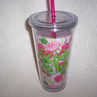 Personalized Lilly Pulitzer DELTA ZETA Sorority Insulated Acrylic Tumbler with Straw