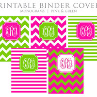 Printable Binder Covers - Monogram, Chevron, Stripes, Pink, Green - Instant Download