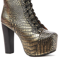 Jeffrey Campbell Shoe Lita in Black and Gold Croc