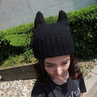 New Korea Japan Women Girls Lovely Knit Cat Ear Ox Horn Beanie Warm Hat Cap