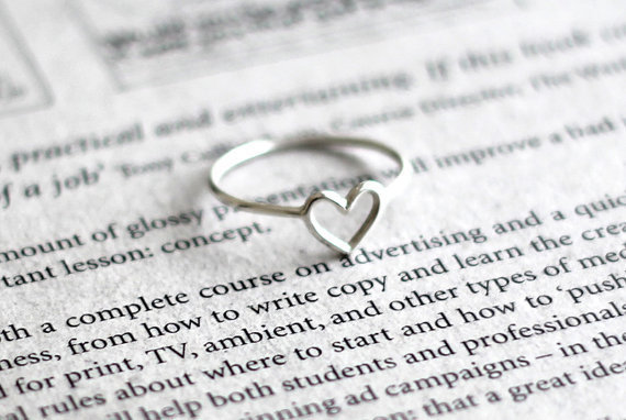 Wire Heart ring Sterling silver Sweet heart Heart Ring by Hoas