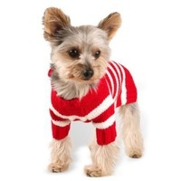 Size #12, Designer Pet Clothes, Red Stripe Dog Hoodie Sweater, Charming Pom Pom, Warm and Cute:Amazon:Pet Supplies