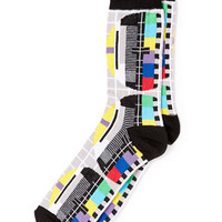 Tv Error Printed Socks - Men's Socks  - Clothing