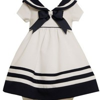 Bonnie Baby-Girls Infant Nautical Dress With Navy Trim, White, 12 Months