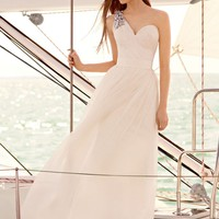 One Shoulder Draped Corset Garza Gown - David's Bridal - mobile