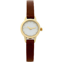 Brown Leather-Look Skinny Strap Watch