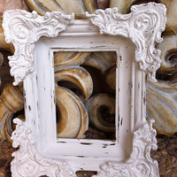 Christmas in July-CIJ, Wedding Frame Decor, Vintage White Ornate Shabby Chic Frame, Home Decor,