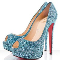Christian Louboutin Lady Peep Strass 150mm Saphir Pumps - $159.00