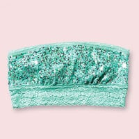 Allover Lace Bandeau Bra - PINK