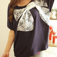 Casual Womens Lace Bowknot Batwing Sleeve Cotton T-shirts