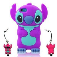 I Need 3d Stitch & Lilo Ipod Touch 5 Soft Silicone Case Cover with 3d Stitch Stylus Pen for Itouch 5g 5th Generation - Purple