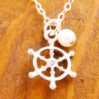 Ship Wheel Necklace - beach necklace, ocean necklace, summer necklace, ships wheel, ship steering wheel, ocean theme, beach theme