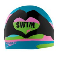 I Heart Swim Silicone Cap - Swim Caps - Speedo USA SwimwearSpeedo USA - ACCESSORIES: Shop By Category: Swim Caps: I Heart Swim Silicone Cap