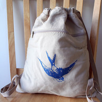 Flying Swallow Backpack Canvas Screen Printed by catbirdcreatures
