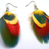 feather earrings red yellow and teal earrings VEGAN by zede
