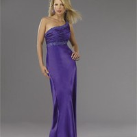 Empire One-shoulder Sequin Drape Lowback Violet Floor-length Prom Dress PD1164