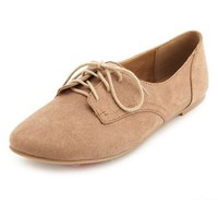 Lace-Up Low Profile Oxfords by Charlotte Russe - Taupe