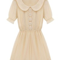 Floral Crocheted Peter Pan Collar Dress - OASAP.com