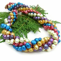 Colorful Twisted Handmade Pearl Necklace Multi Strand Beaded Jewelry