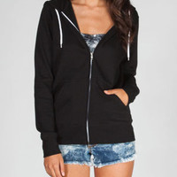 Full Tilt Essential Womens Zip Hoodie Black  In Sizes