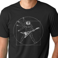 Guitar player funny Vitruvian man T-shirt music humor tee