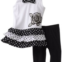 Young Hearts Baby-Girls Infant Long Tunic With Pant Set, Black, 24 Months