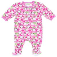 Pears and Carrots Pink Cat Footed Pajamas for Infant and Toddler Girls 2T
