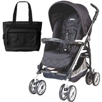 Peg Perego 2011 Pliko P3 Compact Stroller with Diaper Bag - Pois Black