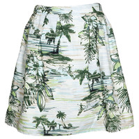Bella Palm Print Cotton Poplin Box Pleat Skirt