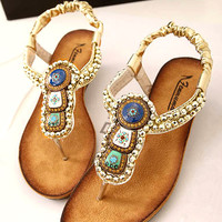 Beads Embellished Flat Sandals JKH060502f