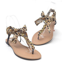 T Shape Flat Sandals with Chiffon Bowtie HLX061602 Leopard